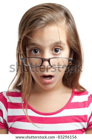 Portrait of a cute latin girl with glasses and a surprised look isolated on a white background - stock photo