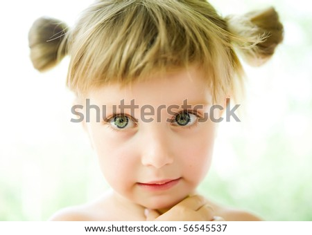 Portrait of a cute liitle girl close-up - stock photo