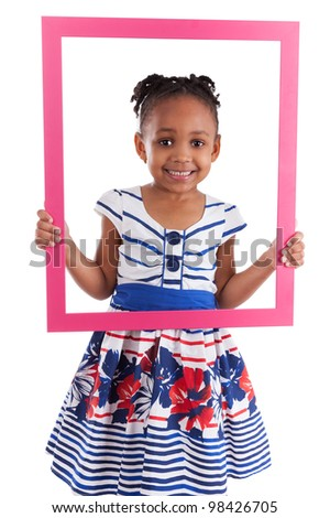 Portrait of a cute little african american girl, holding a picture frame,isolated on white background - stock photo