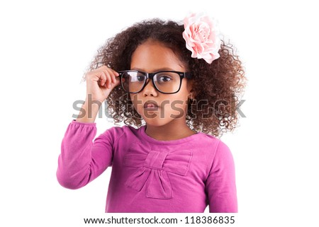 Portrait of a cute little African Asian girl wearing glasses,isolated on white background - stock photo