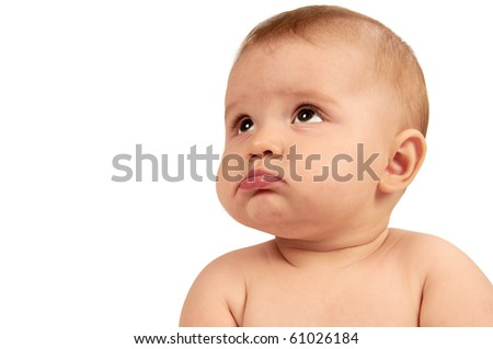 Portrait of a cute little baby looking up over white background