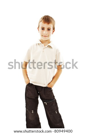 Portrait of a cute little boy on white background - stock photo
