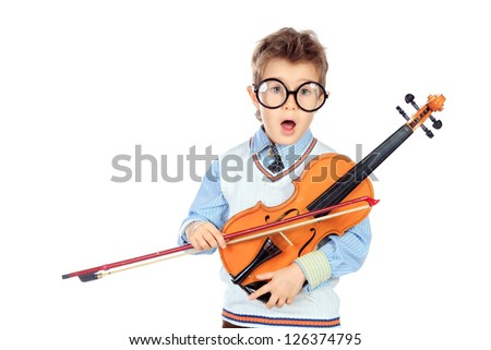Portrait of a cute little boy posing with his violin. Isolated over white background. - stock photo