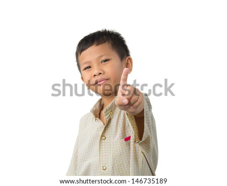 Portrait of a cute little boy smiling counting fingers on isolated
