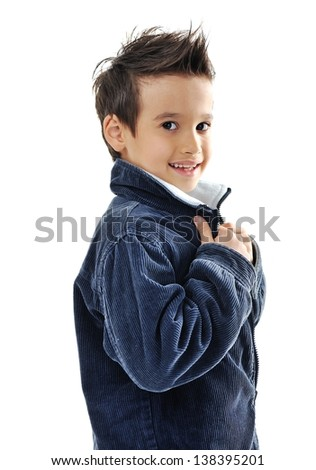 Portrait of a cute little boy smiling on white background - stock photo