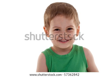 portrait of a cute little boy smiling over white - stock photo