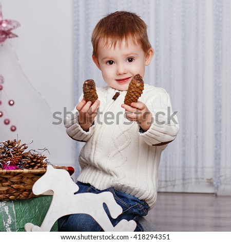 Portrait of a cute little boy with fir cones. Little boy among Christmas decorations - stock photo