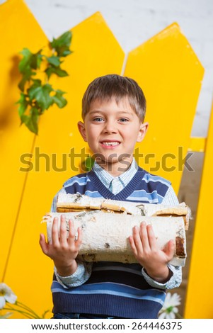 Portrait of a cute little boy with pile of firewood at yellow fence background - stock photo