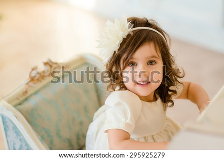 portrait of a cute little girl - stock photo