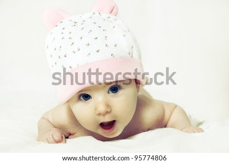 Portrait of a cute little girl isolated on white background - stock photo