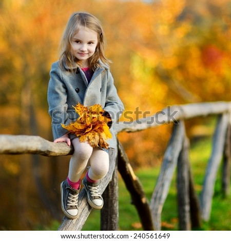 Portrait of a cute little girl on beautiful autumn day - stock photo