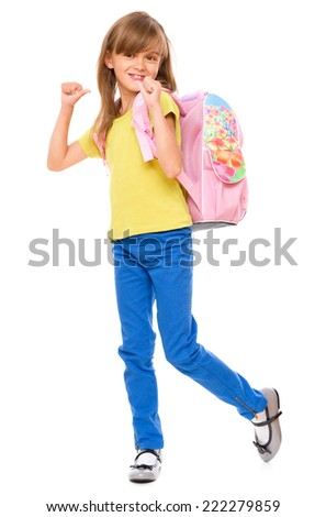 Portrait of a cute little schoolgirl with backpack, isolated over white - stock photo