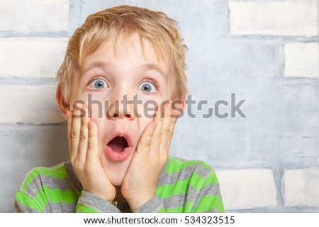 Portrait of a cute little surprised child boy