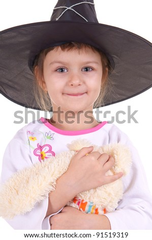 portrait of a cute little wizard girl - stock photo