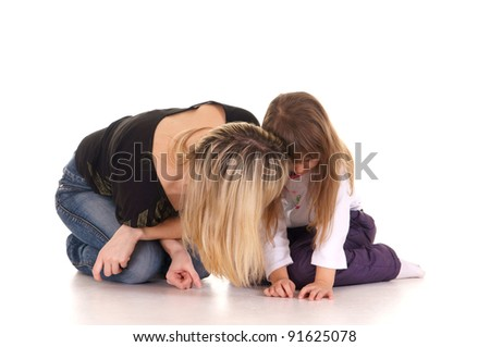 portrait of a cute mom and daughter - stock photo
