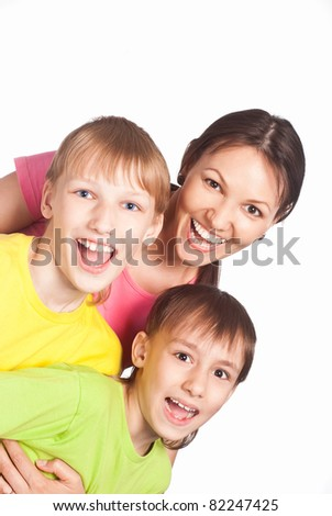 portrait of a cute mom with her sons
