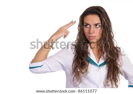portrait of a cute nurse posing on white
