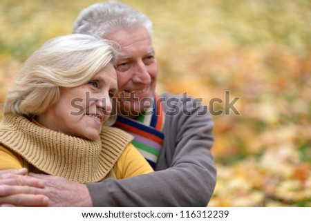 portrait of a cute old couple sitting in autumn park - stock photo