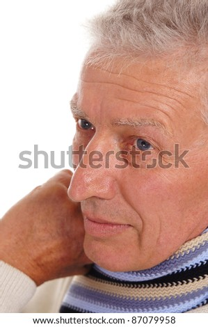 portrait of a cute old man on white