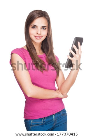 Portrait of a cute student holding tablet computer. - stock photo