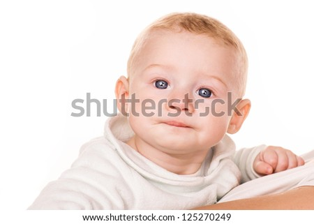 Portrait of a cute surprised baby isolated on white