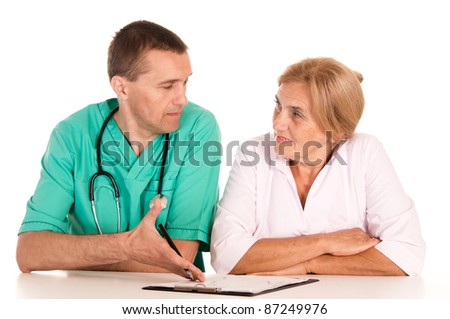 portrait of a cute two doctors on white