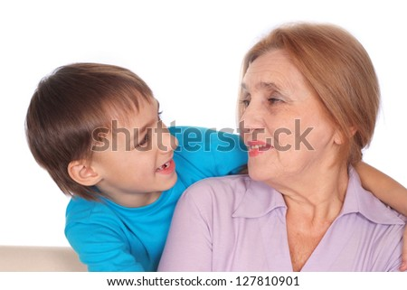 portrait of a cute woman with kid - stock photo