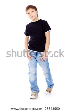 Portrait of a cute 9 year boy. Isolated over white background. - stock photo