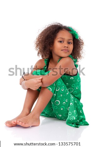 Portrait of a cute young African Asian girl,isolated on white background - stock photo