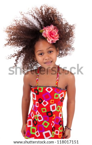 Portrait of a cute young African Asian girl playing with her hairs,isolated on white background - stock photo