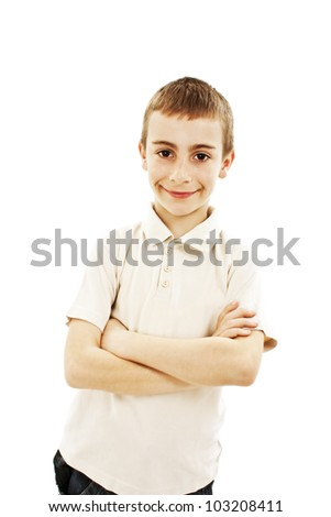 Portrait of a cute young boy on white background - stock photo