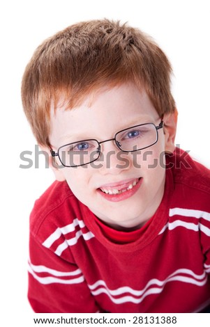 Portrait of a cute young boy with glasses isolated on white background. Studio shot. - stock photo