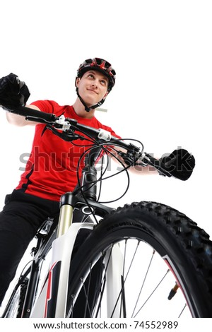 portrait of a cyclist. Isolated on a white background - stock photo