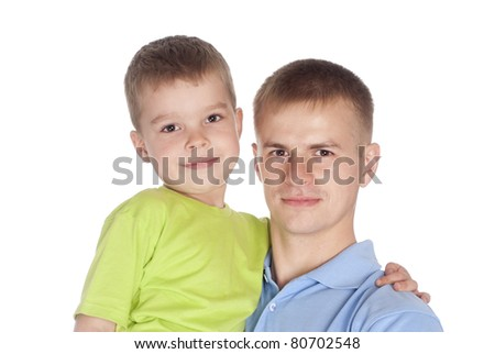 portrait of a dad with his son on a white