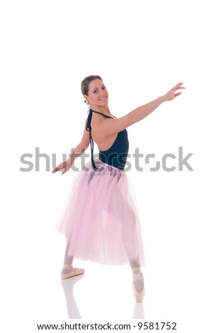 Portrait of a dancing ballerina, ballet dancer. Studio shoot, white background, reflective surface