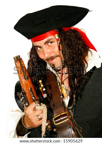Portrait of a dangerous medieval pirate (isolated) - stock photo