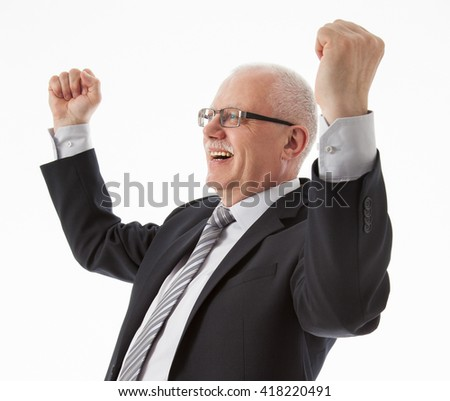 Portrait of a delighted mature businessman, white background