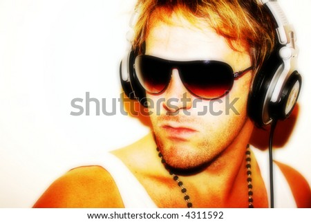 Portrait of a DJ in summer attire softened for flyers etc - stock photo