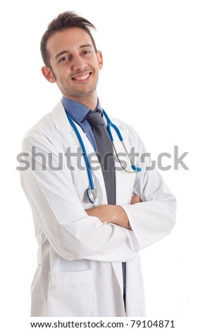 Portrait of a doctor, isolated on white - stock photo
