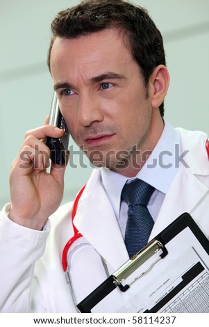Portrait of a doctor on phone