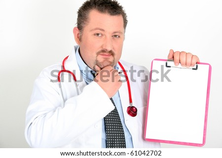 Portrait of a doctor with medical record