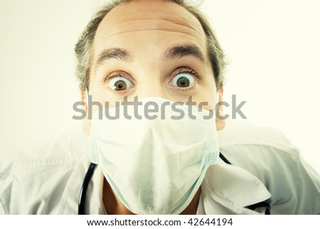 Portrait of a Doctor with surprise expression. - stock photo
