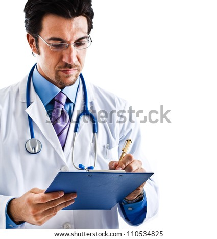Portrait of a doctor writing a prescription