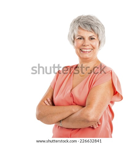 Portrait of a elderly woman smiling, isolated on a white background - stock photo