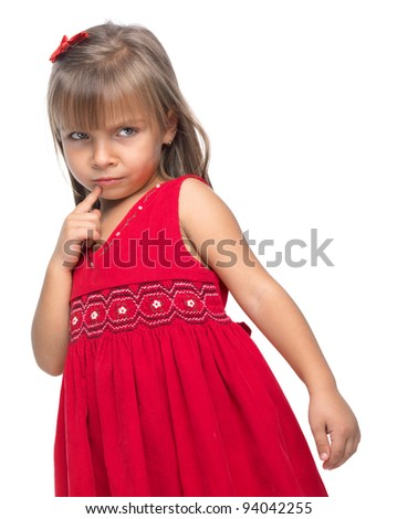 Portrait of a emotional serious little girl on white background. - stock photo