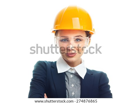 Portrait of a engineer woman, isolated on white background. Close-up of female contractor or entrepreneur, studio-shot. Engineer female wearing hardhat