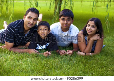 Portrait of a family. - stock photo
