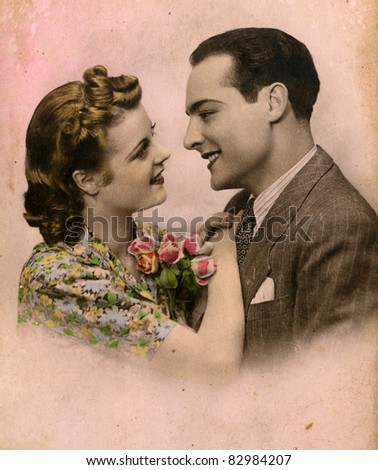 Portrait of a family from the 1940's. - stock photo