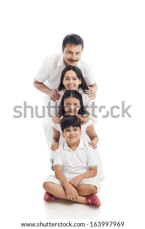 Portrait of a family having fun - stock photo