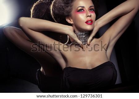 Portrait of a fashionable beauty - stock photo